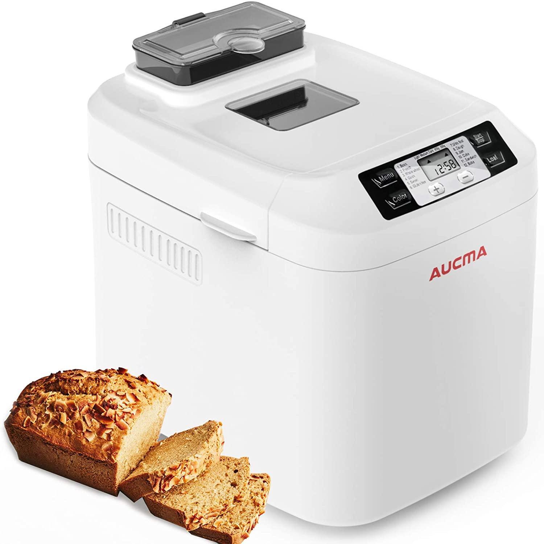 AUCMA Panificadora, Máquina para Hacer Pan con 12 Programas, Panificadora Automática de dispensador,Pan sin gluten,sin BPA, 3 Niveles de Horneado,pantalla LCD y mantener la función cálida