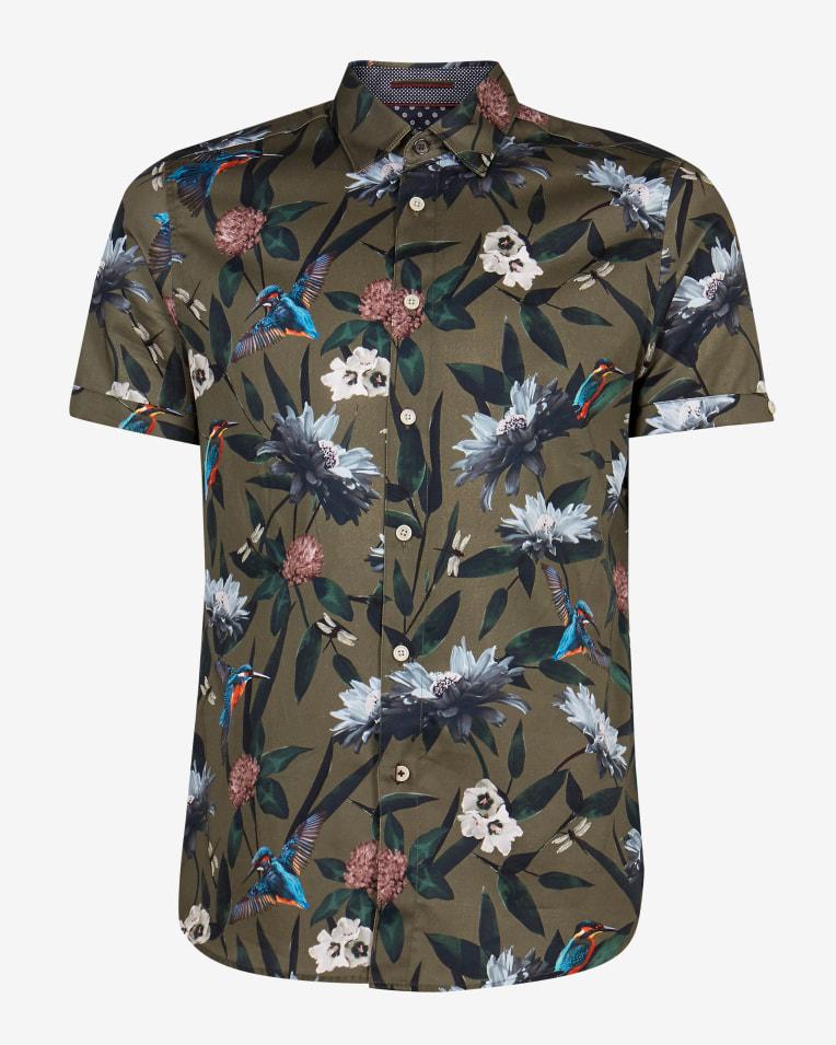 Camisa modelo John en color khaki con estampado floral