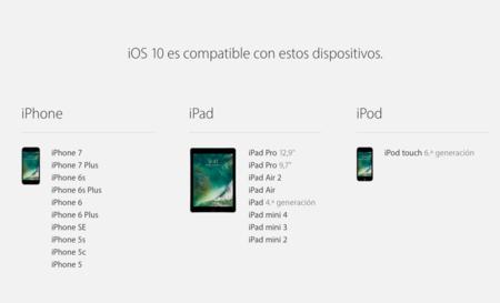 Ios 10 Compatibilidad