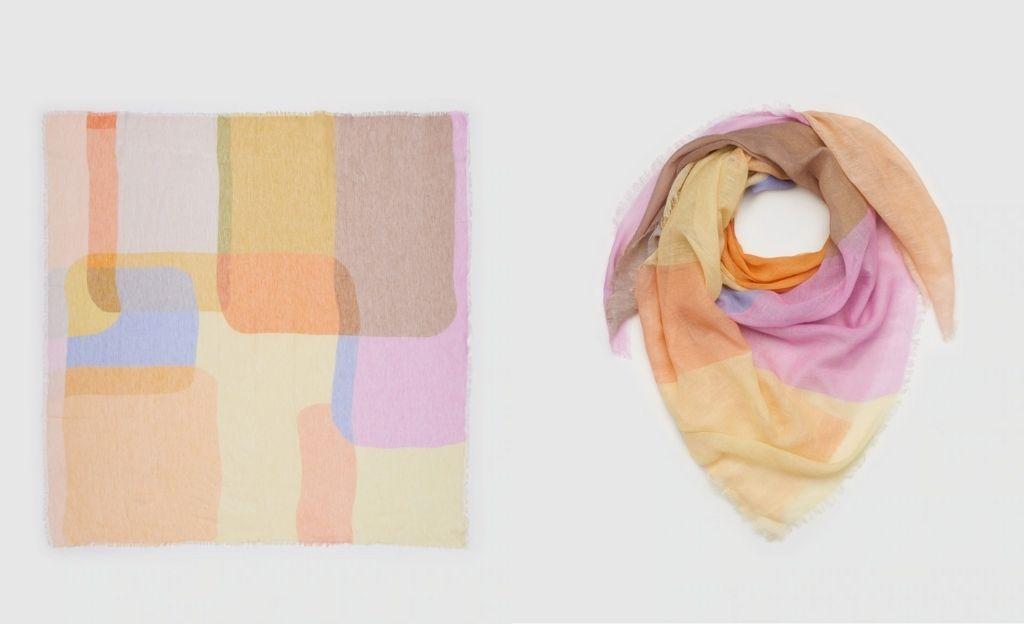 Pañuelo multicolor Jo & Mr. Joe con estampado color block