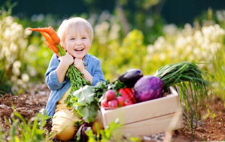 Niño recogiendo fruta y verdura