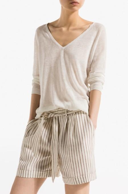 shorts de rayas de lino