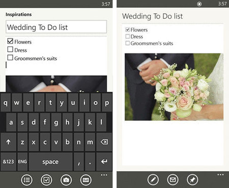 Evernote 3.0 para Windows Phone, casillas de verificación