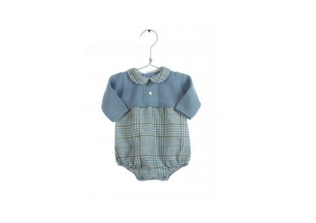 Pelele Bebe Cuadros Azul