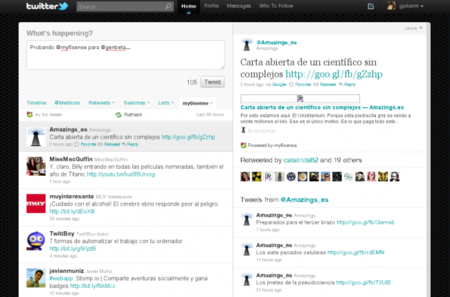 My6Sense funcionando en la web de Twitter.