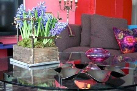 Un salón en rosa y gris, detalle.
