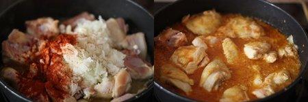 Receta de pollo guisado al azafrán. Pasos