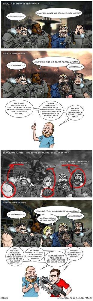 El complejo guión de Gears of War 3