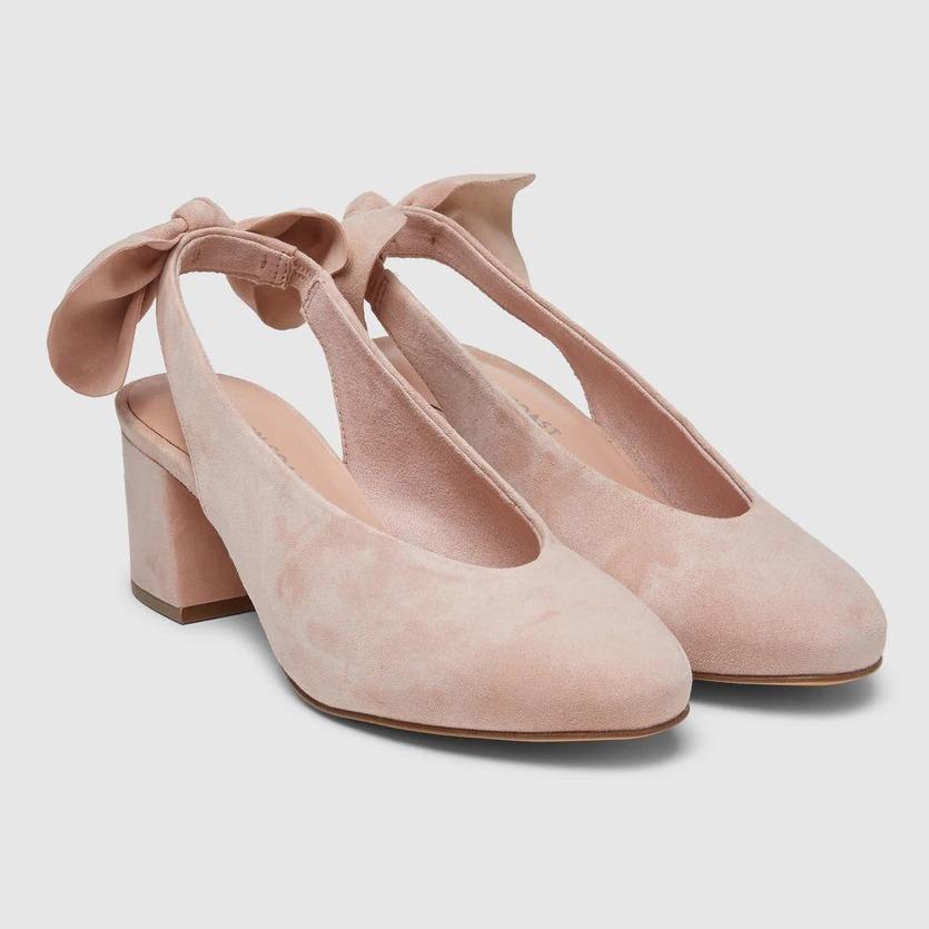 Zapatos de salón de mujer Green Coast destalonados en ante rosa