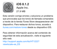 iOS 8.1.2, ya está disponible la nueva actualización de Apple