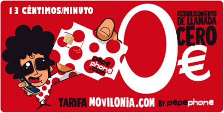Tarifa Movilonia by Pepephone: 13 céntimos/minuto sin establecimiento