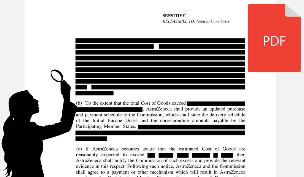 El PDF del contrato censurado de las vacunas de la UE y AstraZeneca revela por error gran parte de la información