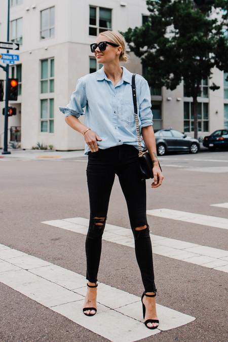Fashion Jackson Topshop Oversized Denim Shirt Topshop Black Ripped Skinny Jeans Steve Madden Black Ankle Strap Heeled Sandals Chanel Black Boy Handbag