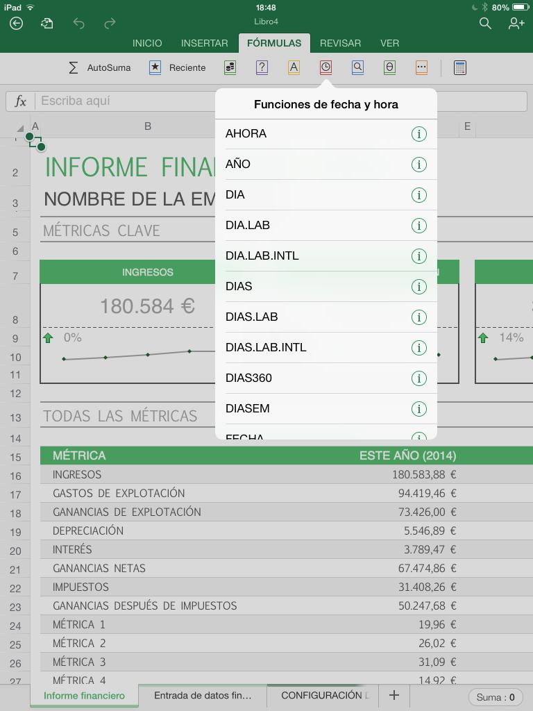 Foto de Excel para iPad (1/10)