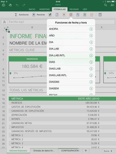 Excel para iPad
