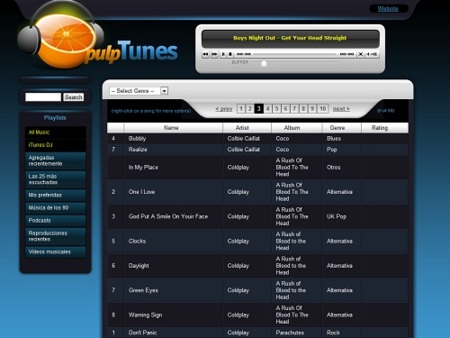 pulpTunes te permite acceder a tu colección de música de forma remota