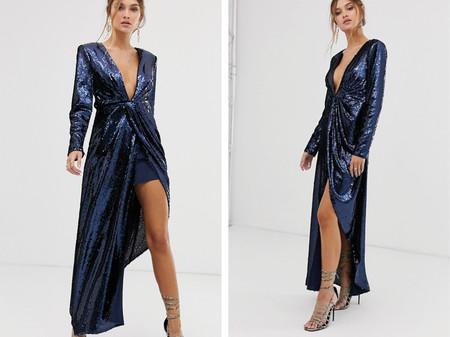 Vestido Escotado Asimetrico De Lentejuelas De Asos Edition