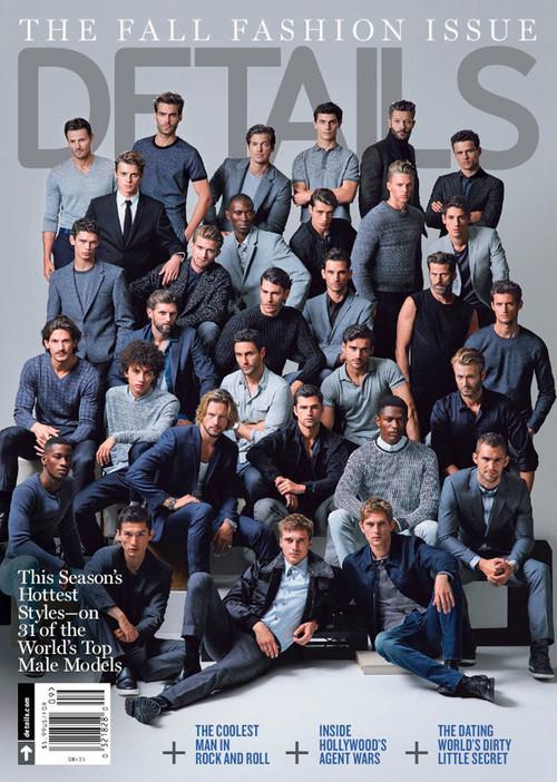 La revista 'Details' reúne a 31 top models masculinos en su portada de septiembre