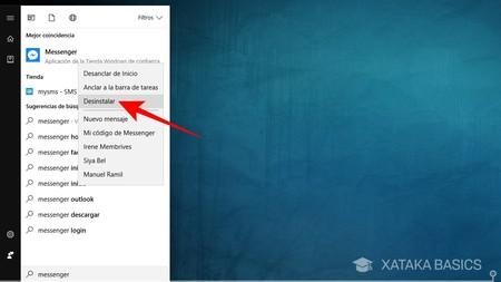 Desinstalar Facebook Messenger Windows 10