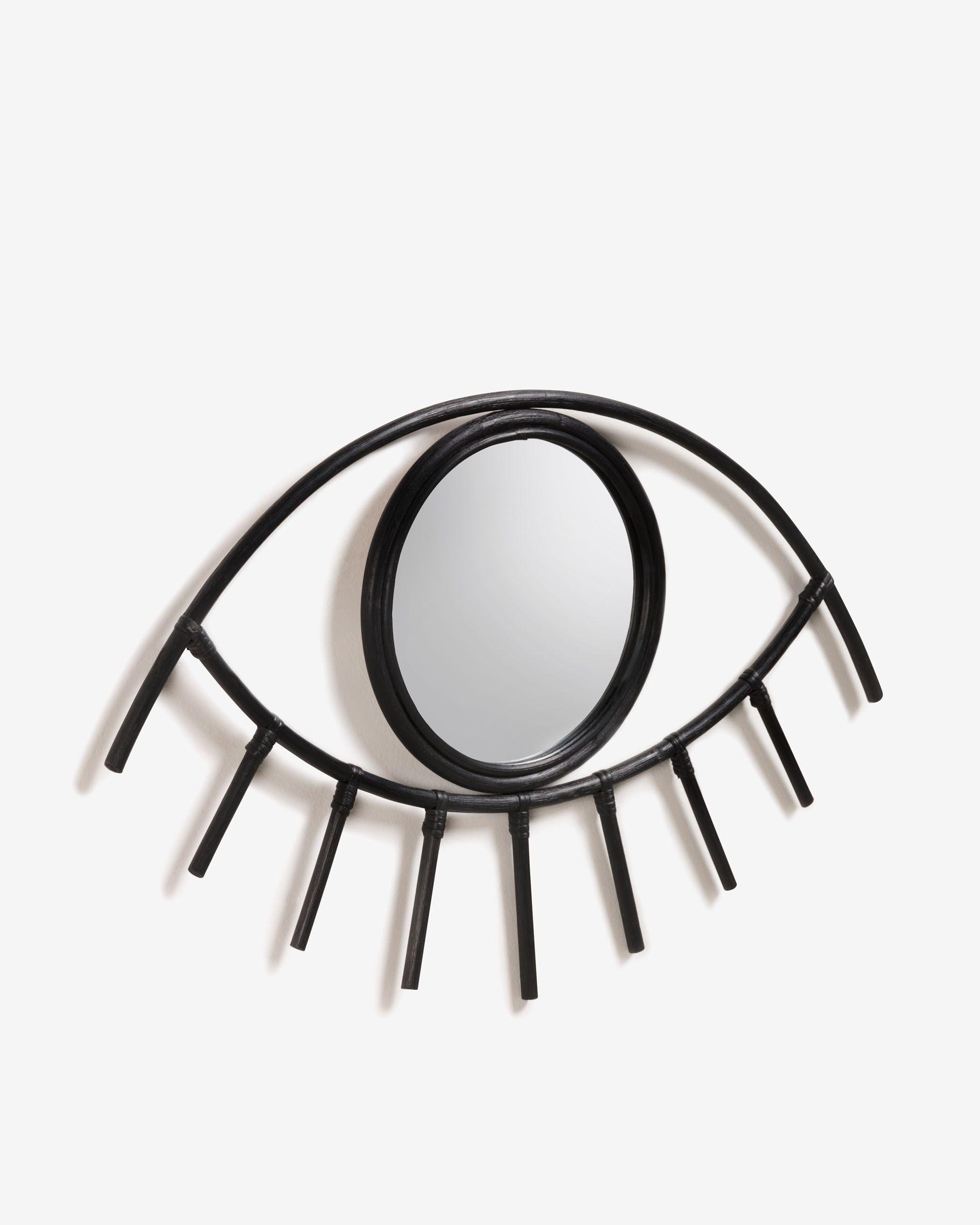 Espejo de ratán con forma de ojo