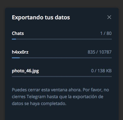 Telegram Mac Exportando