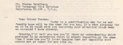 carta de blázquez a Spielberg