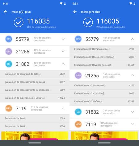 Moto G7 Plus, benchmarks
