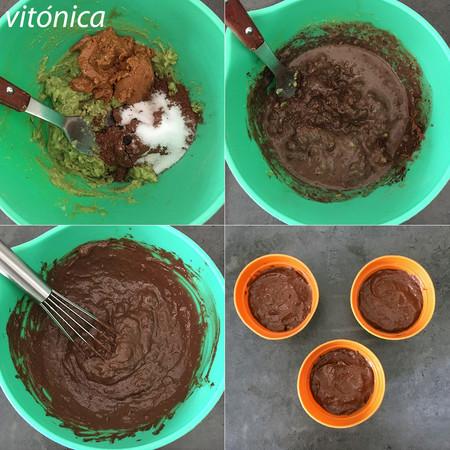 Pasteles de Chocolate y Aguacate. Pasos