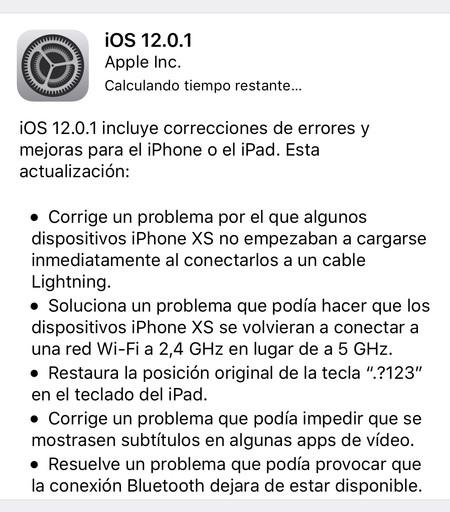 iOS 12.0.1 ya está disponible para solucionar los problemas de carga de algunos iPhone XS