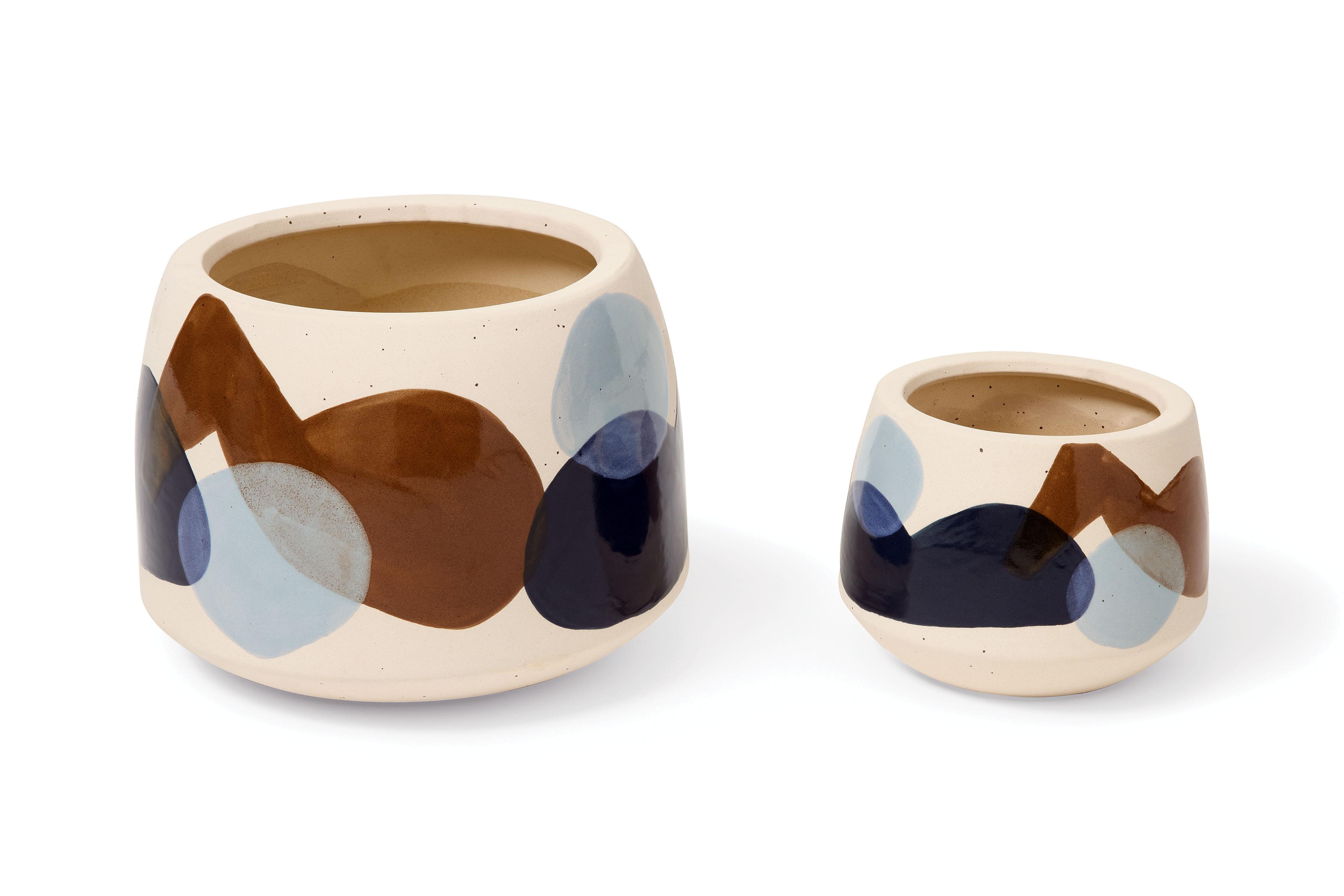 Juego de dos macetas con motivos abstractos, cerámica multicolor de  Mogensen Lopez