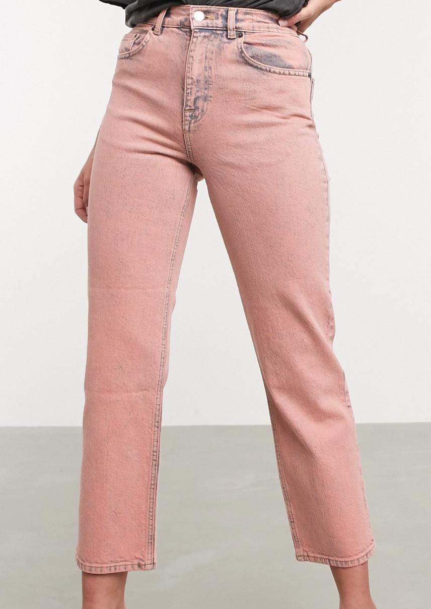 Vaqueros de corte slim recto elástico y tiro alto en rosa teñido de ASOS DESIGN