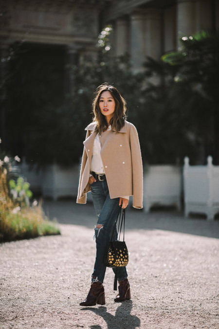 Aimee Song Camel Jacket Ripped Jeans Topshop Boots Chloe Inez Studded Drawstring Bag