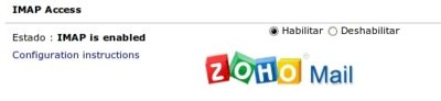 Zoho mail, ahora con acceso IMAP