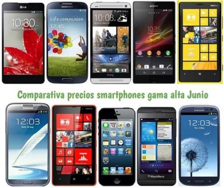 Comparativa Precios iPhone 5, Galaxy S4, HTC One, Xperia Z, Lumia 920 y otros gama alta en Junio de 2013