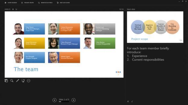 PowerPoint 2013: vista del moderador