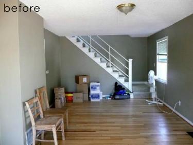 Antes y después: un salón gris convertido en un salón ecléctico con pata de gallo
