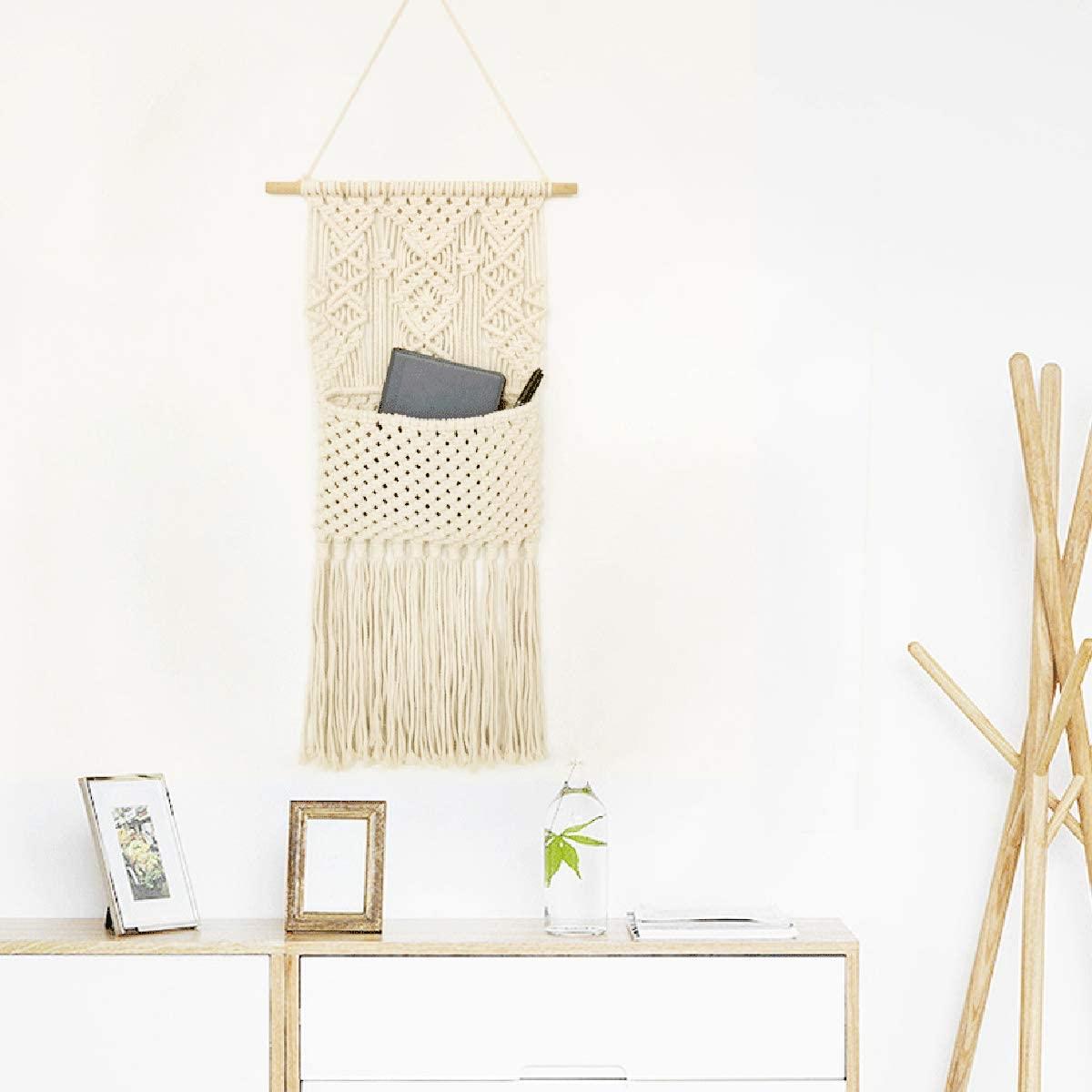 Sinolofty Organizador de macramé para colgar en la pared, con bolsa de almacenamiento, tapices de algodón tejidos, decoración para el hogar, 75 cm (largo) x 30 cm (ancho)