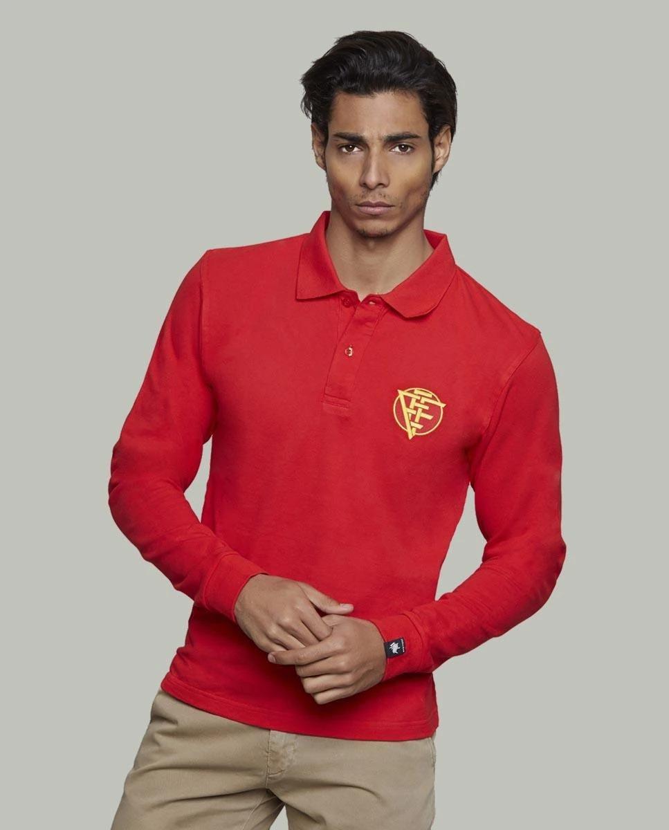 Polo de algodón de hombre 1934 Spain en rojo de manga larga
