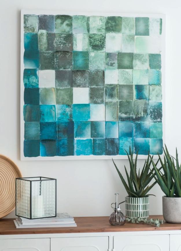 Lienzo con motivos decorativos de mosaicos verdes y azules 80x80