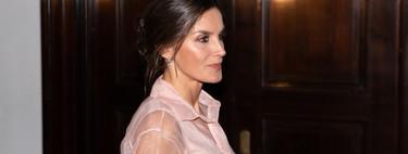 La Reina Letizia estrena un vestido de organza rosa pastel con transparencias en la cena de retribución en Cuba