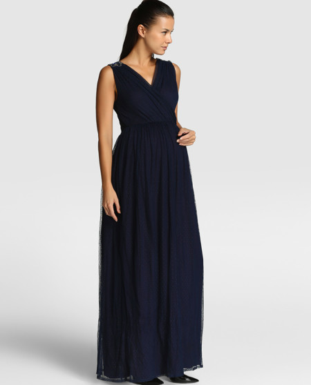6 vestidos largos premamá para ser la invitada más elegante