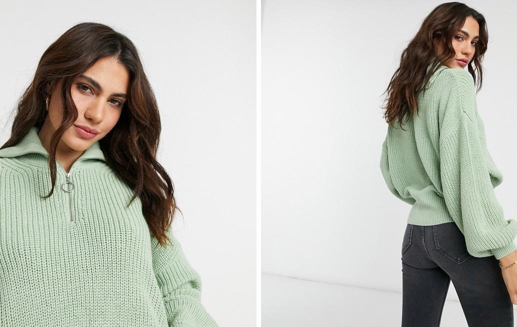 Jersey de punto con cremallera en verde mint