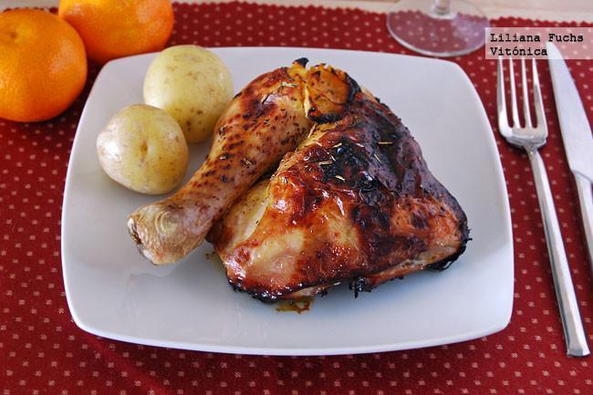 Pollo asado a la mandarina y miel. Receta saludable
