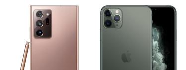 Así queda el iPhone 11 Pro Max frente al Note 20 de Samsung