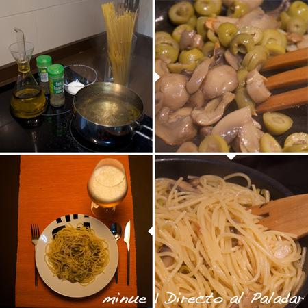 espaguetis picantes con champiñones- preparación