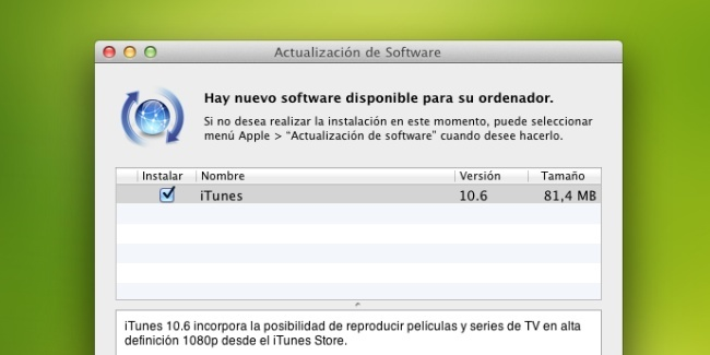 itunes 10.6 os x apple actualización