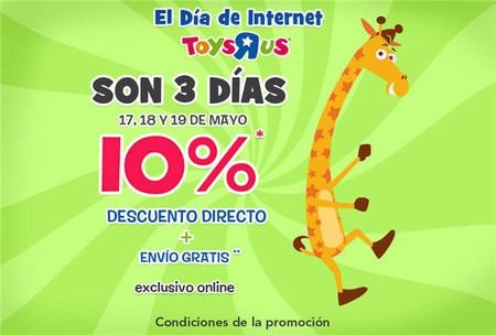 Celebra el Día de Internet en Toys'r'us, con un descuento directo del 10% en las compras realizadas hasta el domingo