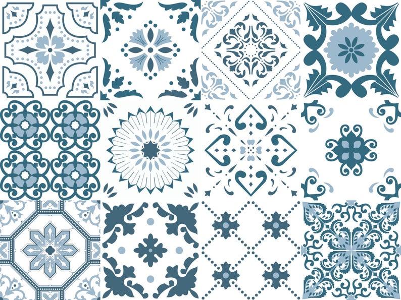 Azulejos portugueses adhesivos de vinilo removible para decoración de cocina, baño, muebles, escaleras (Paquete de 12) (15x15 cm) TEJO