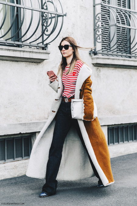 Milan Fashion Week Fall 16 Mfw Street Style Collage Vintage Chiara Capitani Striped Top Shearling Long Coat 2
