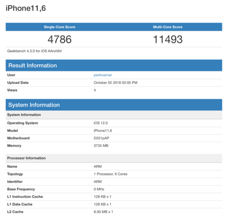 Geekbench Applesfera A12